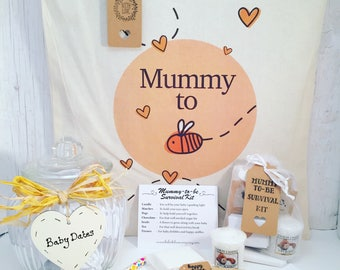 Mummy-to-be gift. Mummy-to-be survival kit, Mummy-to-be tote bag and baby dates jar. Baby shower gift