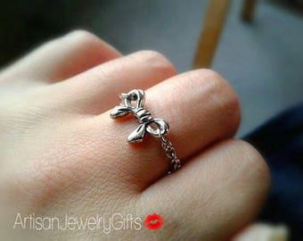 Silver Bow Ring Minimalist Ring Silver Chain Ring Chain Stacking Ring Minimalist Ring Bohemian Ring Gold Ring Bohemian Jewlery Women's Ring
