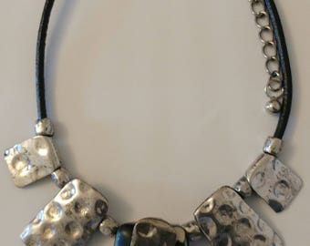 Silver plated black leather necklace