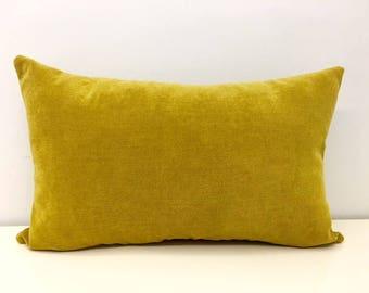 Mustard Cotton Boho Pillow, Mustard Pillows, Rustic Pillow, 18X18 Decorative Throw Pillow, Cushions, Mustard Cotton Chenille Pillow Covers