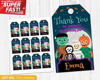 Halloween Favor Tag PRINTABLE, Halloween Thank You Tags, Halloween Gift Tag, Halloween Birthday Tags, Halloween Birthday Party, v1