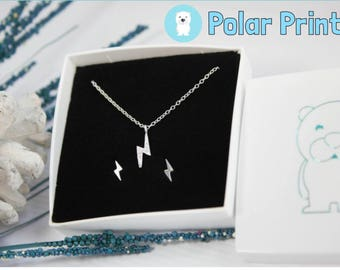 LIGHTNING Ear Studs, Necklace or Set. Luxurious Box and personalised message included.
