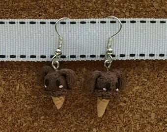 Brown Bunny Ice Cream Cone Polymer Clay Earrings