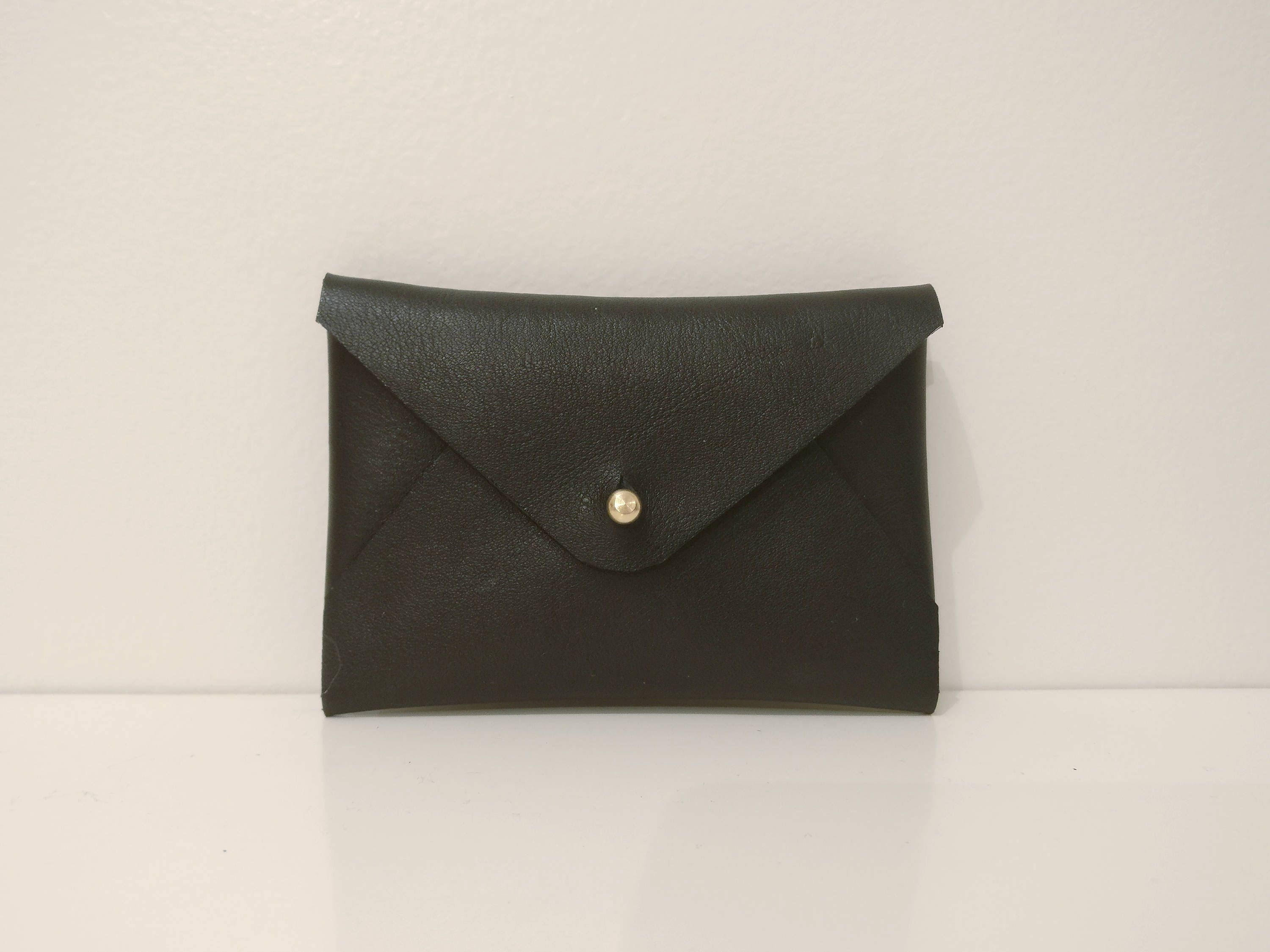Black leather envelope business card holder, card pouch, card wallet ...