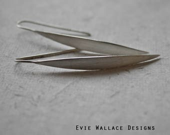 Hook Through Earrings / Threader Earrings / Spear Earrings / Matt Silver / Sterling Silver / Modern Earrings