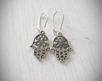 Hamsa hand silver plated earrings with hamsa charm