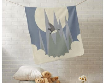 Cute Fleece Baby Blanket, 30x40 Soft Fleece Blanket, Cute Baby Shower Gift, Blue Baby Blanket, Blue Fleece Blanket, Baby Boy Blanket