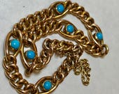 9k carat gold unusual antique victorian round curb link charm bracelet with turquoise cabochons rose  yellow gold