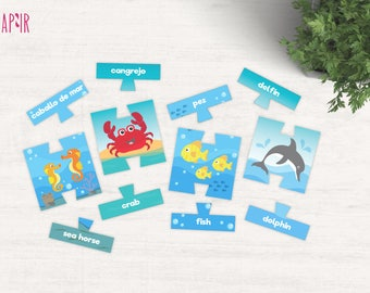 Animal Puzzle Kit | printable jigsaw, sea creatures toy, undersea creature, toddler learning toy, toddler learning, printable puzzle, jigsaw