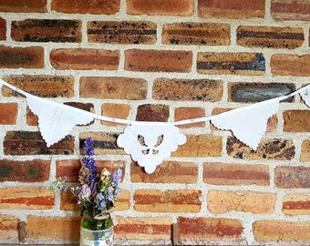 Vintage fabric / doily bunting