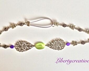 Bronze butterflies and Green Pearl headband