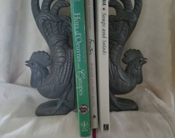Rooster bookends - Mr. Chanticleer with tail feathers in air