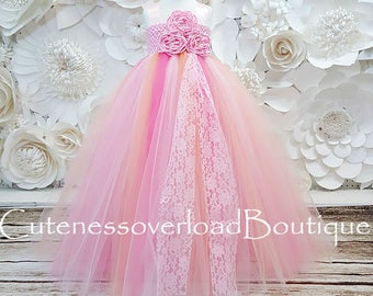Pink/Peach and Coral Tutu Dress Flower Girl Tutu Dress-Tutu Dress-Girl Tutu-Wedding Tutu-Girl Tutu-Halloween Tutu.