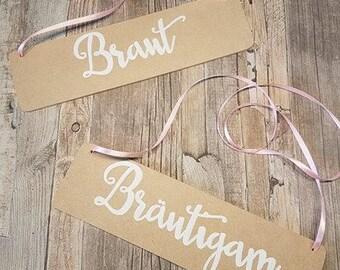 Braut & Bräutigam 2-er Set Holzschilder vintage Hochzeit/Holzschild/boho/individuell