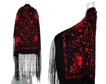 1970s Red and Black Floral Embroidered Shawl