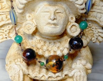 Amber necklace from Mexico - o - green hues