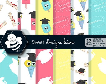 Graduation ice cream digital papers, Graduation papers, Graduation scrapbook papers, graduation papers, commercial use, DP0019