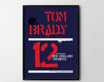 TOM BRADY New England Patriots NFL American Football Poster Art Print, Sport Posters