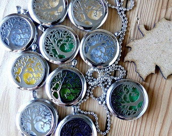 Essential oil diffuser necklace Aromatherapy Necklace Summer outdoors For her pendant Natural Healing Gift Idea Tree Of Knowledge Unique