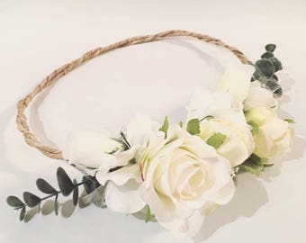 Flower Crown, White Flower Crown, Wedding flower crown, White crown, flower headband, boho flower crown, Flower Headpiece, bridal headpiece