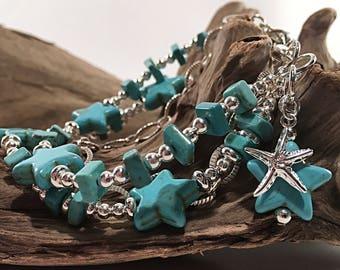 Turqoise bracelet, silver bracelet, howlite bracelet, boho style, beach bracelet, gemstone bracelet, chunky bracelet, starfish charm
