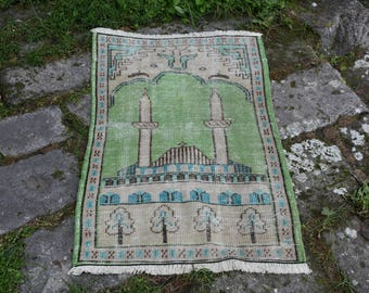 Rare Ottoman Mosque Design Unique Turkey Rug Free Shipping Rug 2.4 x 3.6 feet Vintage Oushak Rug Home Decor Tribal Rug Aztec Rug