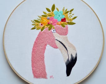 Flamingo Embroidery Pattern, PDF Digital Download, Modern Embroidery Pattern, Florence the Llama
