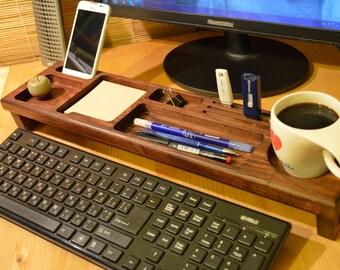 Unique anniversary gift for him Gift for men Gift for Dad Boyfriend gift Husband gift  - Wood Desktop Organizer Keyboard Rack Wooden Desktop
