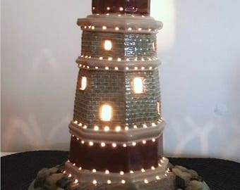 lighthouse light,ceramic lighthouse,Table top light,Decorative light,nautical decor,Ceramic light,lighthouse decor,house warming gift