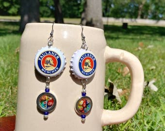 Paulaner Munchen beer bottle cap  earrings with silver and millefiori charms