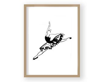 Ballerina Print, Ballet Poster, Ballet Decor, Black and White Art, Scandi Decor, Gift for Dancer, Dance Gift, Ballet Gift, Ballet Art