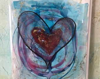 2 Greeting Cards, Original Cards, Artwork Cards, Blank Inside Cards, Heart Greeting Cards