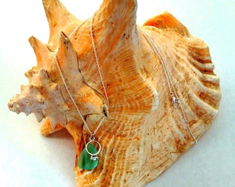 Seaglass Diamond Ring Charm Necklace