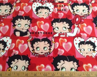14 inches of Betty Boop/heart shapes cotton fabric