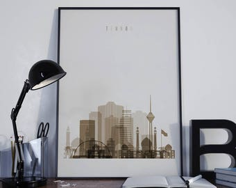 Tehran Art Tehran Watercolor Tehran Multicolor Tehran Wall Art Tehran Wall Decor Tehran Home Decor Tehran City Tehran Skyline Tehran Print
