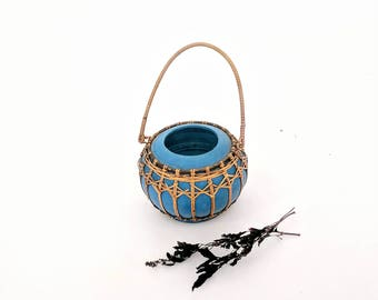 wicker wrapped blue decorative pot vessel | vintage blue painted carved wood pot