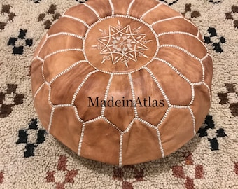 Moroccan Leather pouf ottoman //  tan //  Beautiful Handmade//for Home gifts, wedding gift
