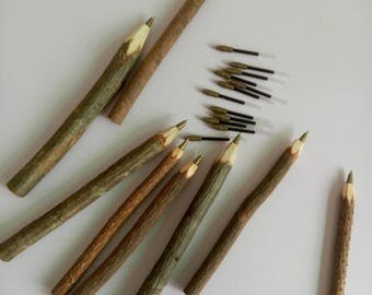 Twig Pen -  50/pack - Wooden Ballpoint Pen - 0.7 mm - Oil-based Black Ink