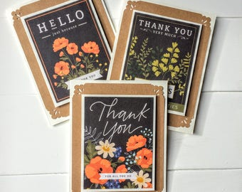 3 Piece card set -Thank you cards, Thanksgiving, Autumn colours, Gift idea, Seed packet cards, Flowers, Garden lover, Blank cards, Note card