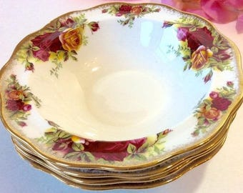 Royal Albert Old Country Roses cereal/dessert bowls. Set 6