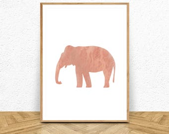 Marble Print, Rose Gold Art, Elephant Print, Rose Gold Wall Decor, Rose Gold Print, Elephant Prints, Digital Download Art, Rose Gold, Decor