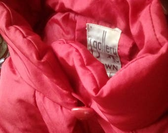 Vintage 1980's Red j. gallery Women's Med Large Duck Down Waterfowl Feathers Winter Coat Jacket