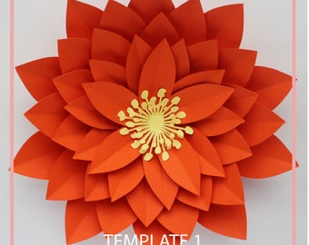 Giant paper flowers etsy for Big flower paper template