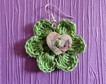 Green flowers with green heart button Earrings