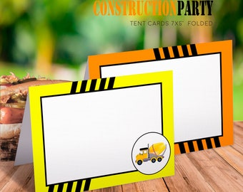Blank tent cards, Construction tents, Construction food labels, Candy labels, Construction tent cards, Construction theme party