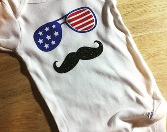 4th of July Mustache Baby