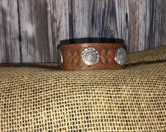 Leather Wrist Cuff- Native American Theme