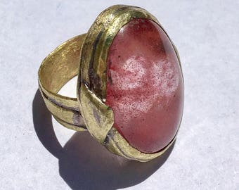 Brass x Watermelon quartz ring