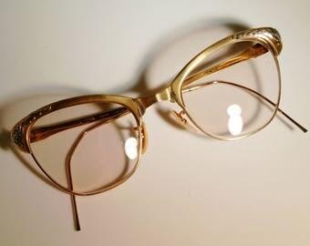 1960s Bishop 12KT 1/20 GF Gold Filled Cat Eye Glasses Rx Eyeglasses Frames Silver Floral Embellishment 50s Retro Pinup Classic Feminine