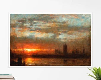 "Albert Goodwin, ""Westminster Sunset"". Art poster, art print, rolled canvas, art canvas, wall art, wall decor"